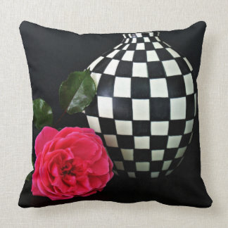 Checkered Vase and Floral Throw Pillow