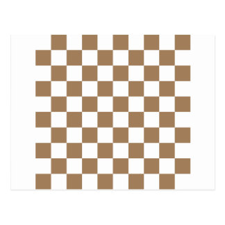 Checkered - White and Pale Brown Post Card