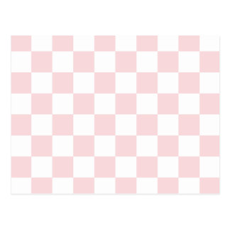 Checkered - White and Pale Pink Post Cards