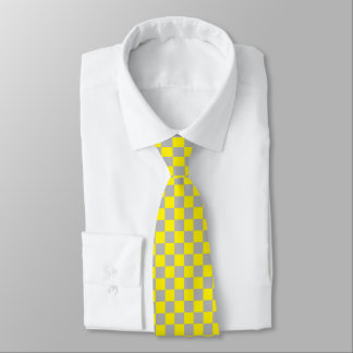 Checkered Yellow and Silver Tie