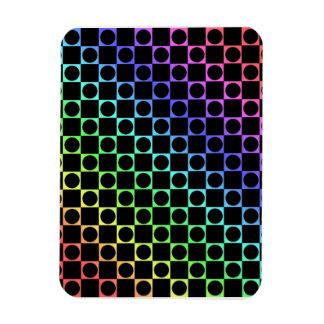 Checkers & Circles, Rainbow & Black Magnet