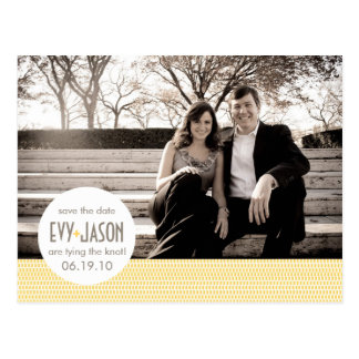 Checkers + Dots- Custom Save the Date - Canary Postcard