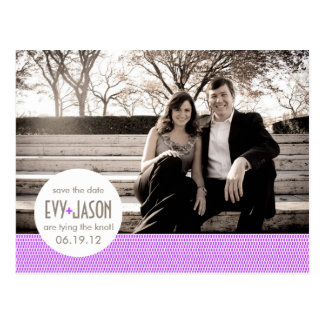 Checkers + Dots- Custom Save the Date - Lavender Postcard