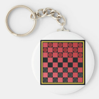 Checkers Game Basic Round Button Keychain