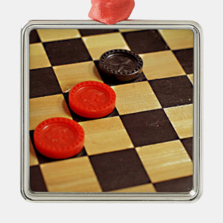 Checkers Metal Ornament