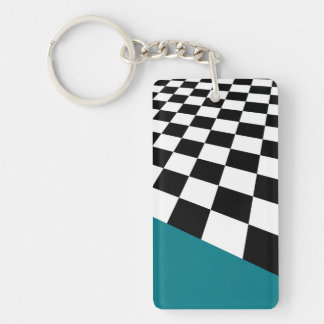 Checkers...with your accent colors. Double-Sided rectangular acrylic keychain