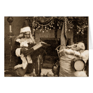 Checking It Twice - Vintage Stereoview Greeting Card