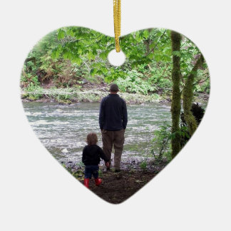 Checking out the Sol Duc River Ceramic Heart Ornament