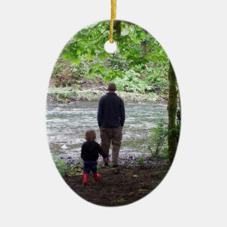 Checking out the Sol Duc River Ceramic Oval Ornament