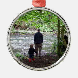 Checking out the Sol Duc River Silver-Colored Round Ornament