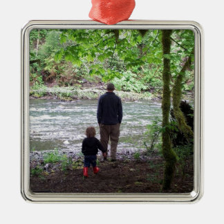 Checking out the Sol Duc River Silver-Colored Square Ornament