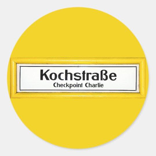 Checkpoint Charlie, Kochstrabe, Yellow Border Classic Round Sticker