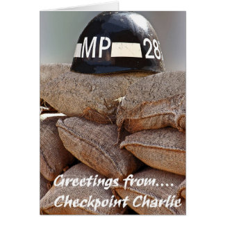Checkpoint Charlie,Military Police Helmet,Greeting Card