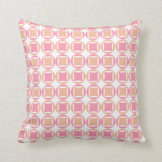 Checks & Circles in Orange and Pink Pattern Throw Pillow