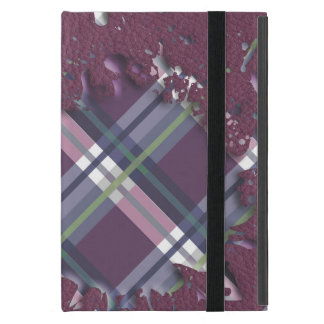Checks Splatter on Leather Texture Cherry and Wine Covers For iPad Mini