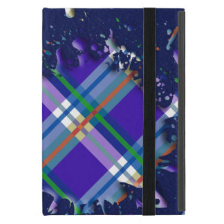 Checks Splatter on Leather Texture - Dark Blue iPad Mini Cases