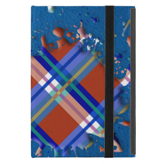 Checks Splatter on Leather Texture Red Royal Blue iPad Mini Case