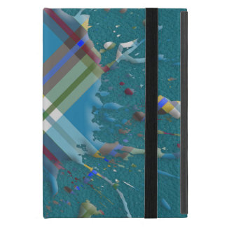 Checks Splatter on Leather Texture -Till Turquoise Cases For iPad Mini