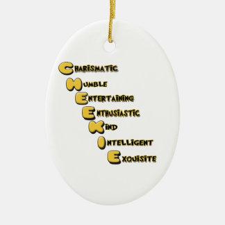 cheekie m ceramic oval ornament