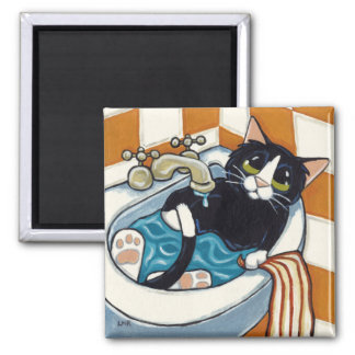 Cheeky Cat Bathing in Sink Illustration Magnet