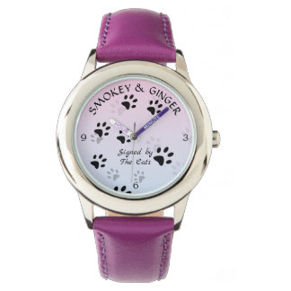 Cheeky Cat Footprints in Pink Template Watch