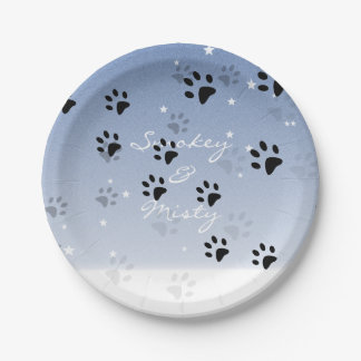 Cheeky Cat Footprints in Snow Paper Plate