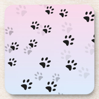 Cheeky Cat Footprints Pink and Blue Beverage Coasters