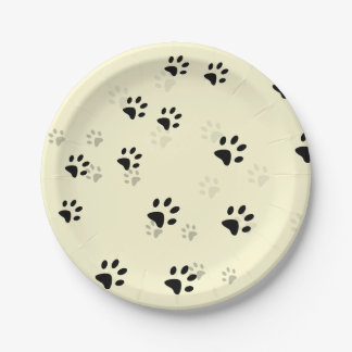 Cheeky Cats Footprints 7 Inch Paper Plate