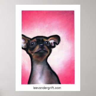 Cheeky Chihuahua, leevandergrift.com Poster