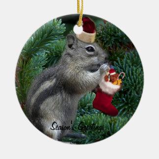 Cheeky Christmas Chipmunk Ceramic Ornament