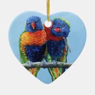 Cheeky colourful Rainbow lorikeets preening each Ceramic Ornament