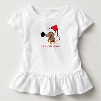 Cheeky Dachshund Christmas Toddler Ruffle Tee