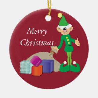Cheeky Elf Christmas Decoration Round Ceramic Ornament