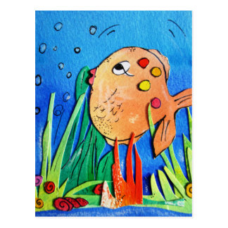 Cheeky fish -pixi-art.com postcard