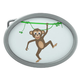 Cheeky Little Monkey Cute Cartoon Animal Oval Belt Buckle