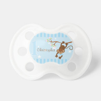 Cheeky Monkey Blue Stripes 1st Birthday Baby Pacifier