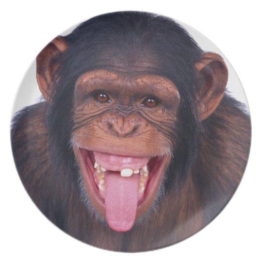 cheeky monkey chimp chimpanzee wild animal plate