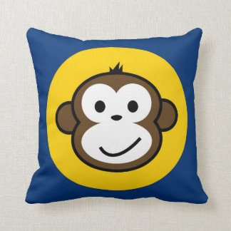 cheeky monkey cushion blue