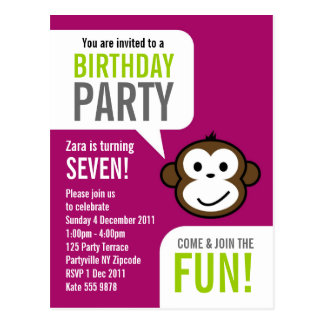 Cheeky Monkey Invitation 2 [purple] Postcard