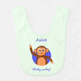 Cheeky monkey personalized teal bibs