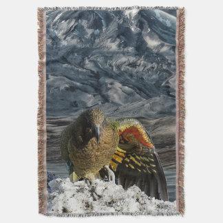 Cheeky new zealand kea mountain parrot throw blanket