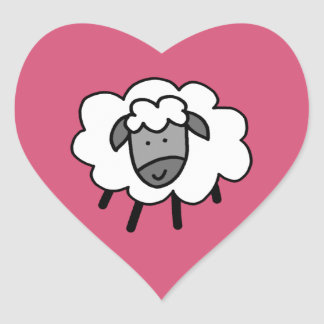 Cheeky Sheep Heart Sticker