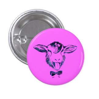 Cheeky sheep with a bow tie 1 inch round button