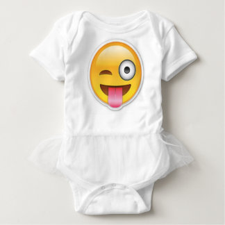 Cheeky Smiley emoji wink Baby Bodysuit