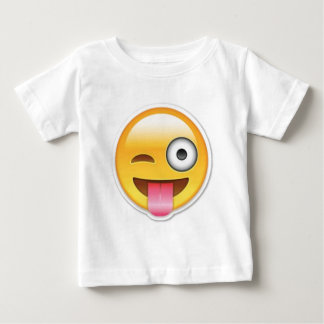 Cheeky Smiley emoji wink Baby T-Shirt