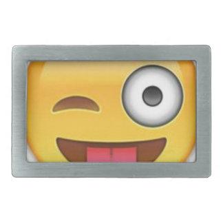Cheeky Smiley emoji wink Belt Buckle