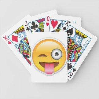 Cheeky Smiley emoji wink Bicycle Playing Cards