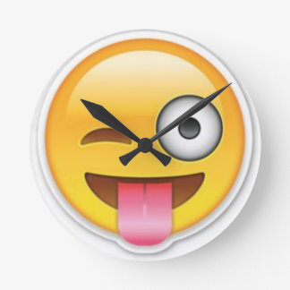 Cheeky Smiley emoji wink Round Clock