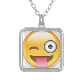 Cheeky Smiley emoji wink Silver Plated Necklace