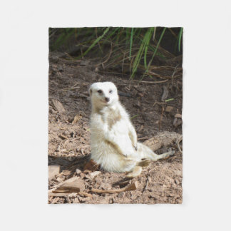 Cheeky White Meerkat Small Fleece Blanket.